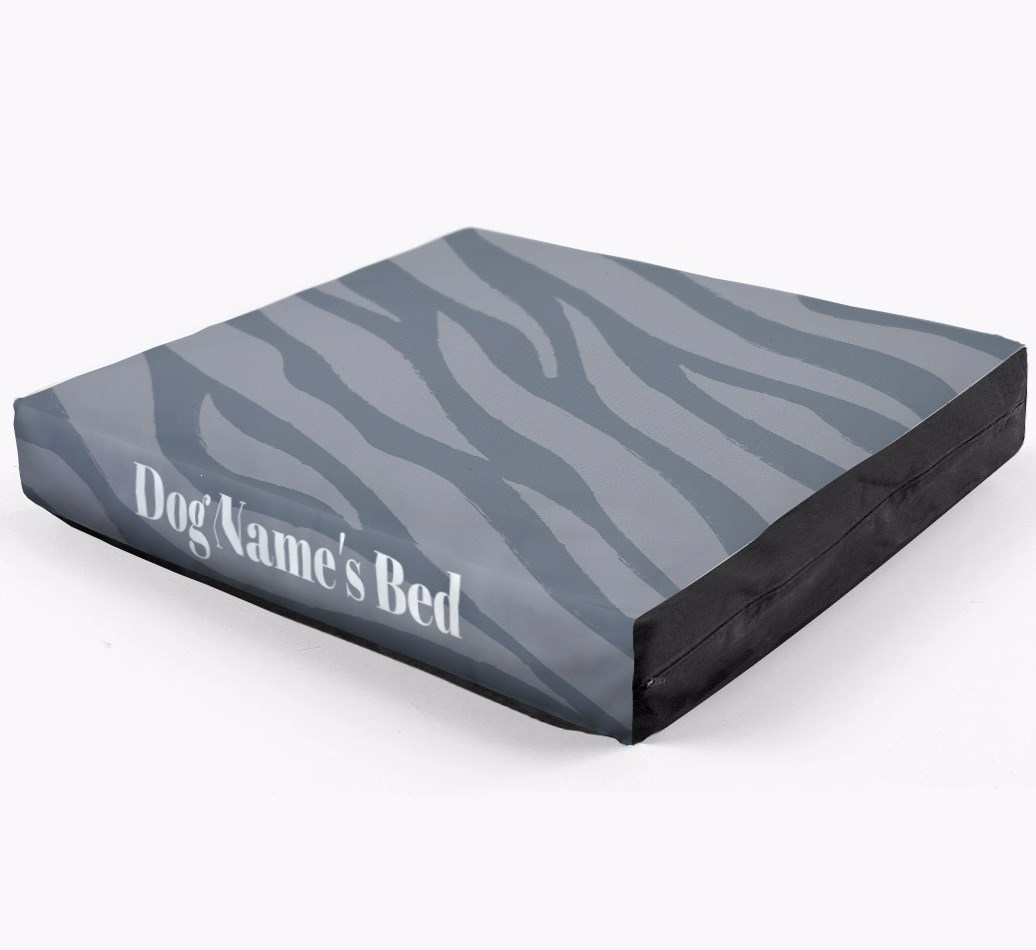 Personalised 'Zebra Print' Dog Bed for your Bearded Collie