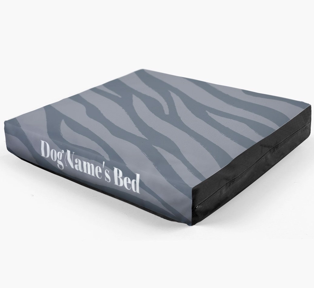 Personalised 'Zebra Print' Dog Bed for your Caucasian Shepherd Dog