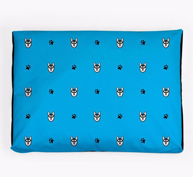 Personalised Dog Bed with Alaskan Klee Kai Icon Pattern