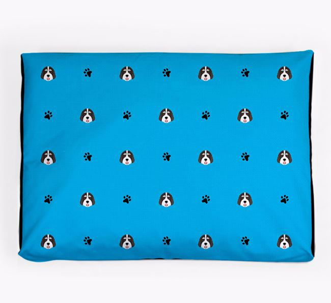 Personalised Dog Bed with Bernedoodle Icon Pattern