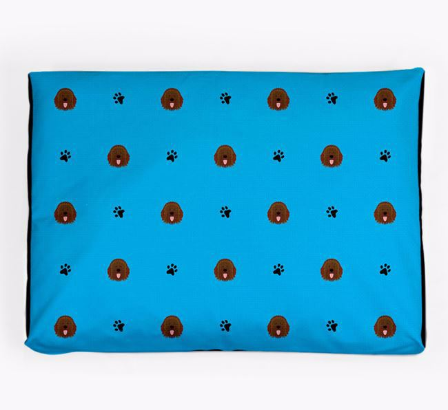 Personalised Dog Bed with Catalan Sheepdog Icon Pattern