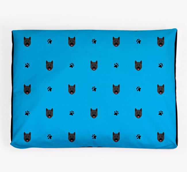 Personalised Dog Bed with Norwegian Elkhound Icon Pattern