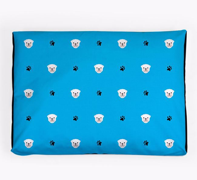Personalised Dog Bed with Pug Icon Pattern