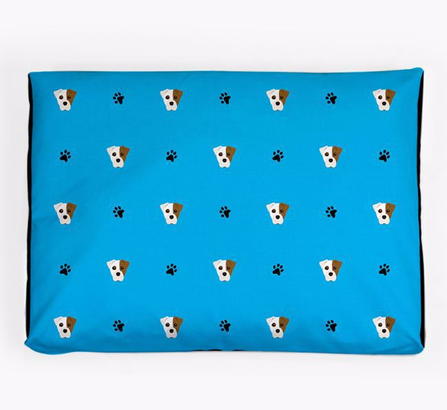 Personalised Dog Bed with Staffy Jack Icon Pattern
