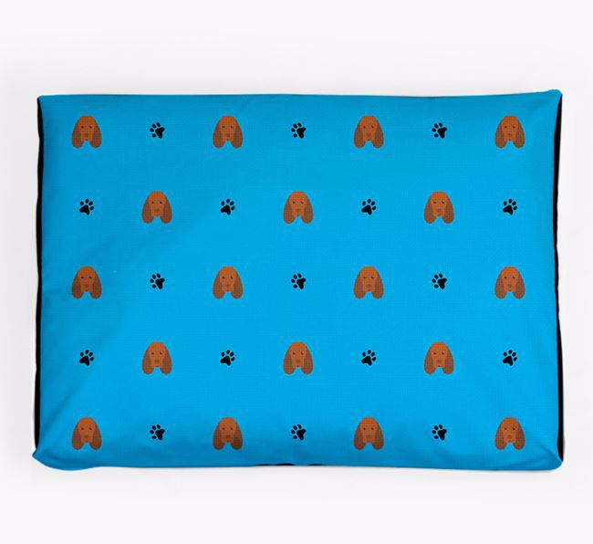 Personalised Dog Bed with Sussex Spaniel Icon Pattern