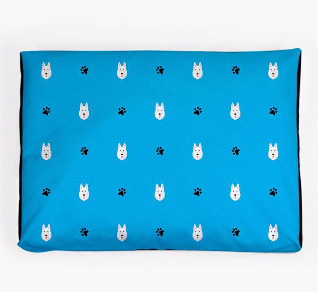 Personalised Dog Bed with White Swiss Shepherd Dog Icon Pattern