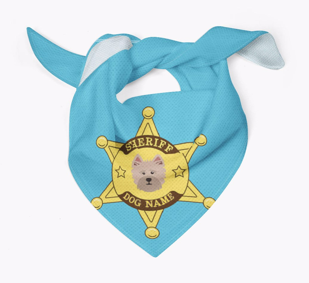 Personalised Sheriff Bandana for your Cairn Terrier