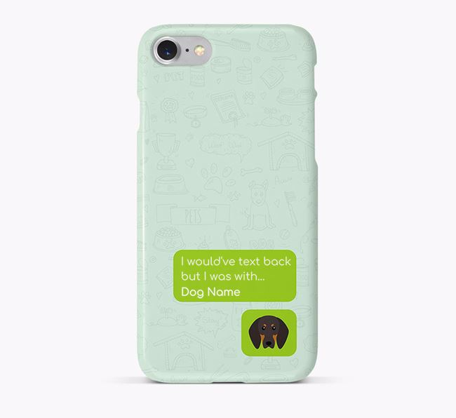 'Text Back' Phone Case with Black and Tan Coonhound Icon