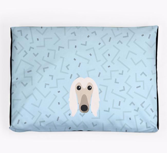 Personalised Minimal Dog Bed with Afghan Hound Icon