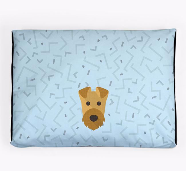 Personalised Minimal Dog Bed with Airedale Terrier Icon