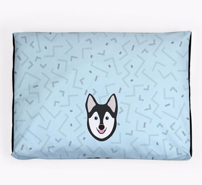 Personalised Minimal Dog Bed with Alaskan Klee Kai Icon