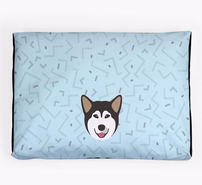 Personalised Minimal Dog Bed with Alaskan Malamute Icon