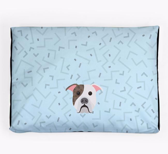 Personalised Minimal Dog Bed with American Bulldog Icon