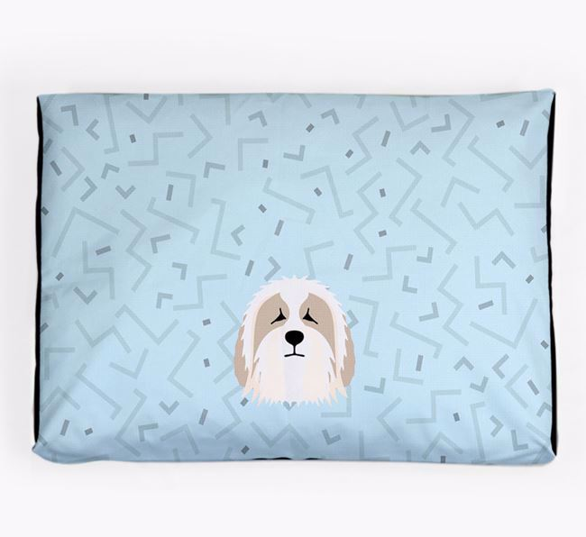 Personalised Minimal Dog Bed with Bearded Collie Icon