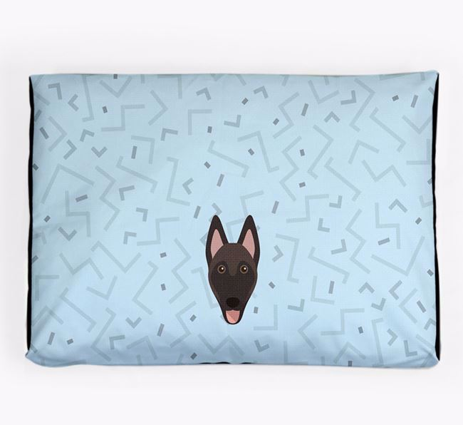 Personalised Minimal Dog Bed with Belgian Malinois Icon