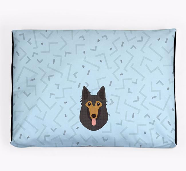 Personalised Minimal Dog Bed with Belgian Tervuren Icon