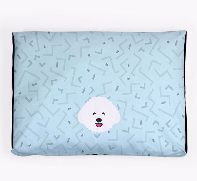 Personalised Minimal Dog Bed with Bichon Frise Icon