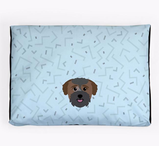Personalised Minimal Dog Bed with Bichon Yorkie Icon