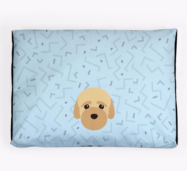 Personalised Minimal Dog Bed with Bich-poo Icon