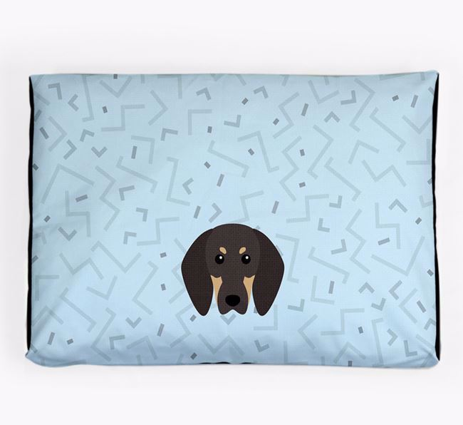 Personalised Minimal Dog Bed with Black and Tan Coonhound Icon