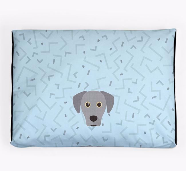 Personalised Minimal Dog Bed with Blue Lacy Icon
