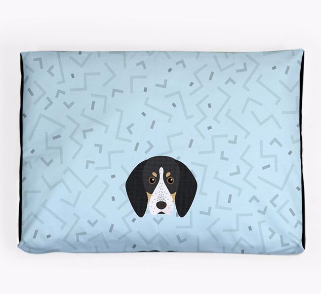 Personalised Minimal Dog Bed with Bluetick Coonhound Icon