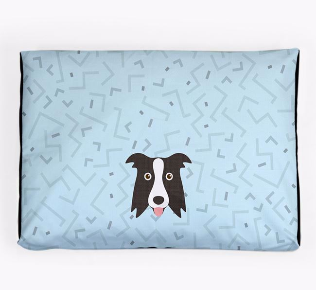 Personalised Minimal Dog Bed with Border Collie Icon