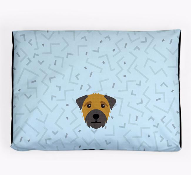 Personalised Minimal Dog Bed with Border Terrier Icon