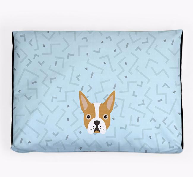 Personalised Minimal Dog Bed with Boston Terrier Icon