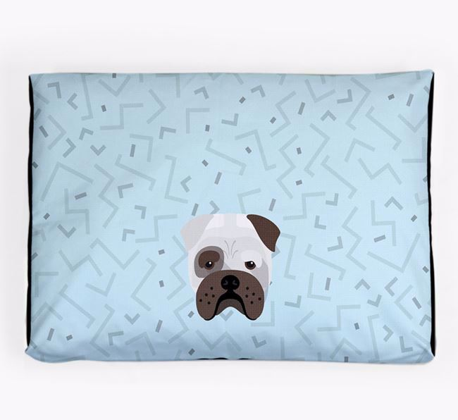 Personalised Minimal Dog Bed with Bull Pei Icon