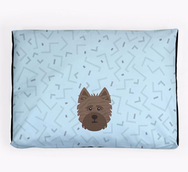 Personalised Minimal Dog Bed with Cairn Terrier Icon