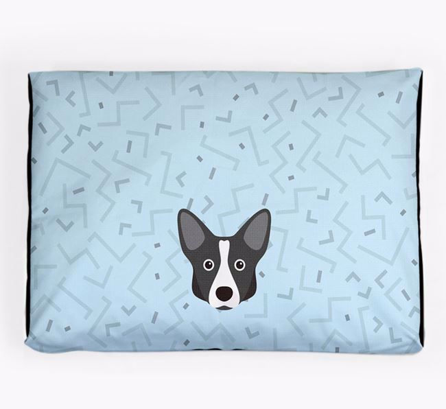 Personalised Minimal Dog Bed with Cardigan Welsh Corgi Icon