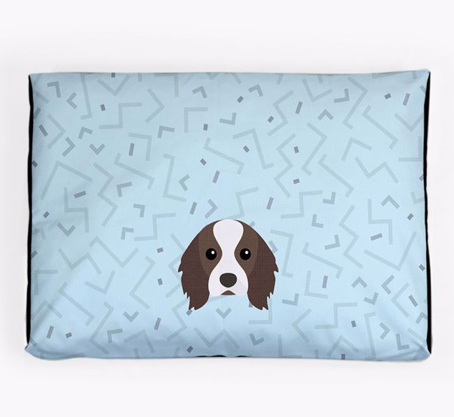 Personalised Minimal Dog Bed with Cavalier King Charles Spaniel Icon