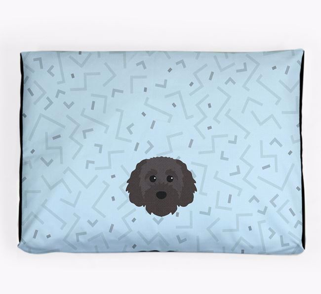 Personalised Minimal Dog Bed with Cavapoochon Icon