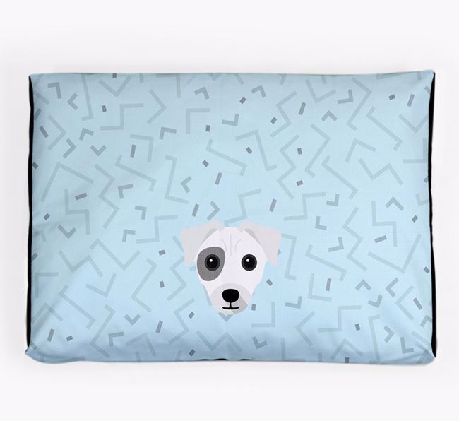 Personalised Minimal Dog Bed with Chi Staffy Bull Icon