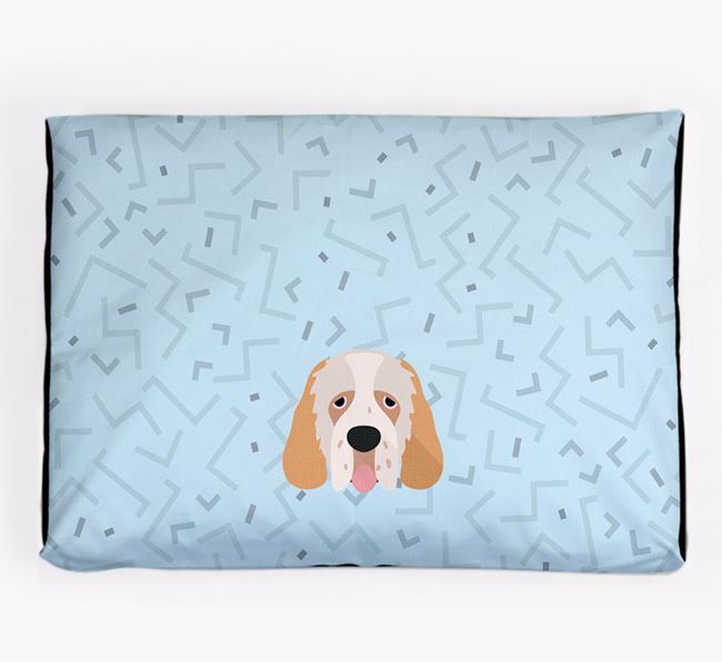 Personalised Minimal Dog Bed with Clumber Spaniel Icon