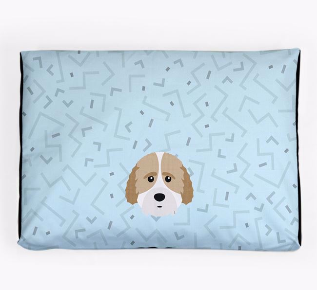 Personalised Minimal Dog Bed with Cockachon Icon