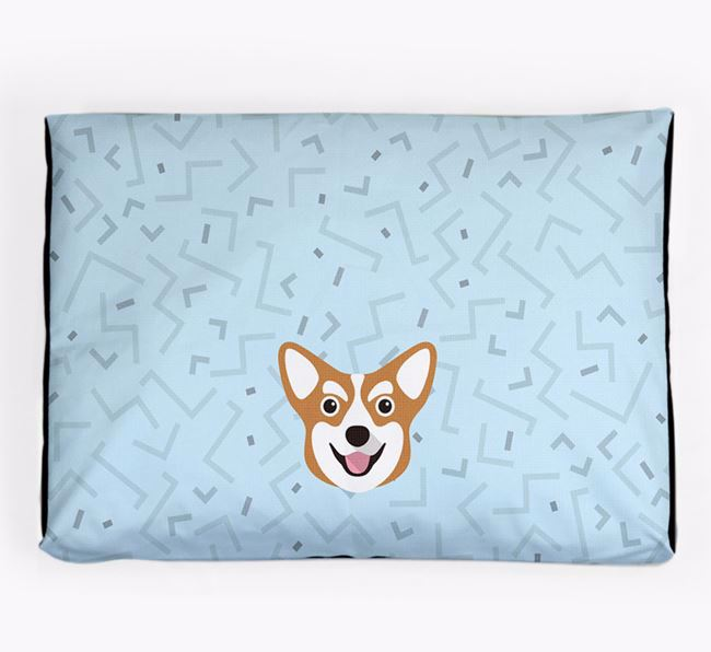 Personalised Minimal Dog Bed with Corgi Icon