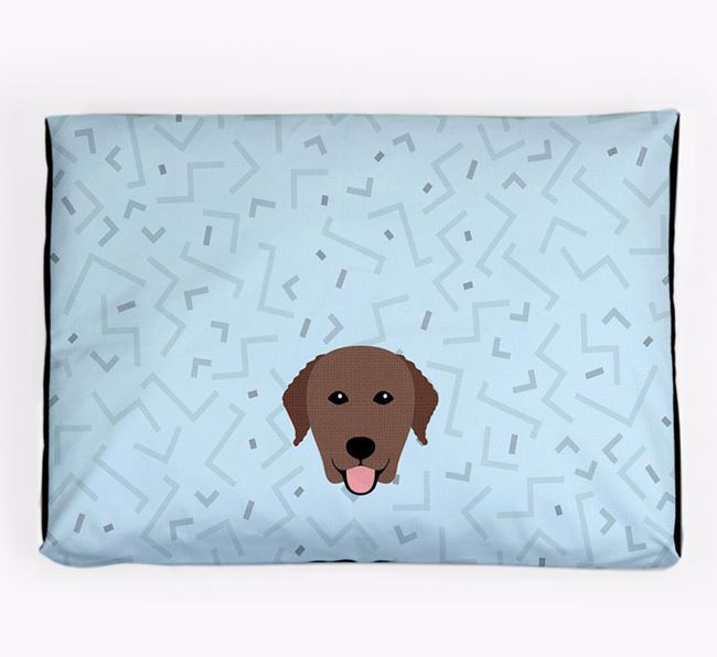 Personalised Minimal Dog Bed with Curly Coated Retriever Icon