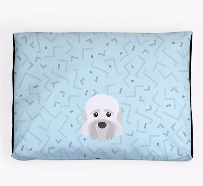 Personalised Minimal Dog Bed with Dandie Dinmont Terrier Icon