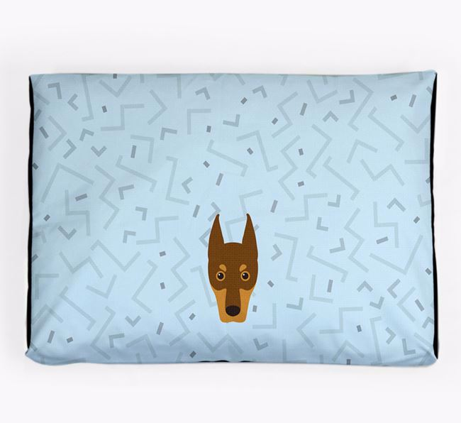 Personalised Minimal Dog Bed with Dobermann Icon