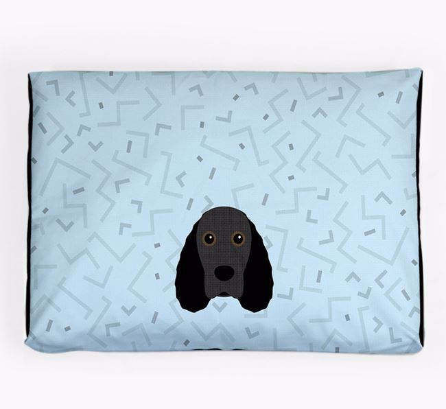 Personalised Minimal Dog Bed with Field Spaniel Icon
