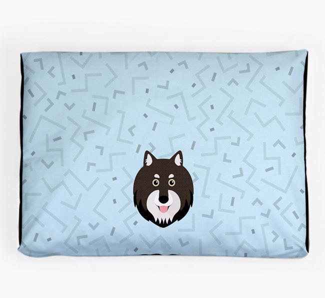 Personalised Minimal Dog Bed with Finnish Lapphund Icon
