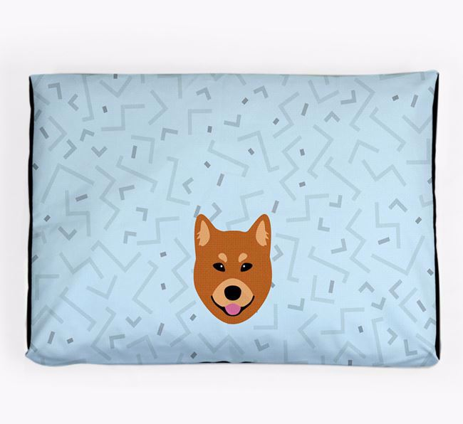 Personalised Minimal Dog Bed with Finnish Spitz Icon