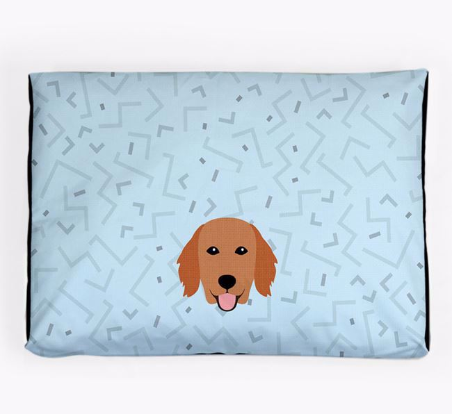Personalised Minimal Dog Bed with Flat-Coated Retriever Icon