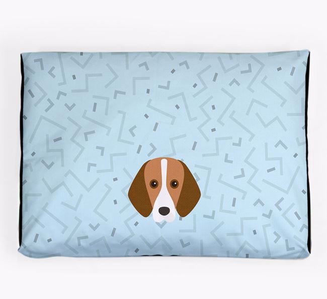 Personalised Minimal Dog Bed with Foxhound Icon