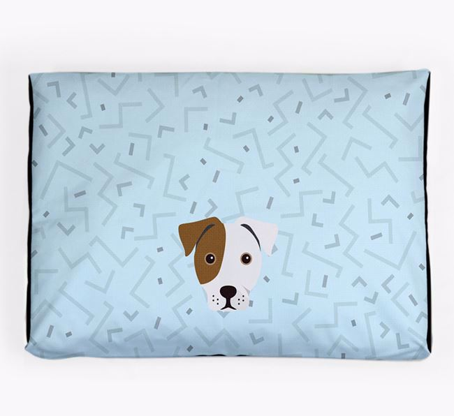 Personalised Minimal Dog Bed with French Bull Jack Icon