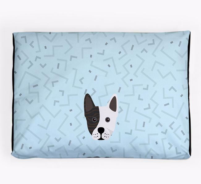 Personalised Minimal Dog Bed with Frenchie Staff Icon