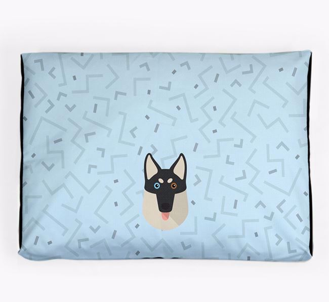 Personalised Minimal Dog Bed with Gerberian Shepsky Icon
