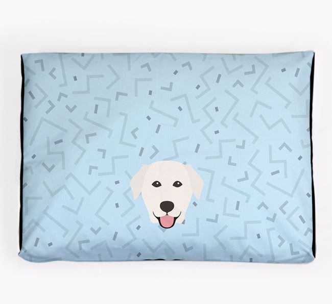 Personalised Minimal Dog Bed with Golden Labrador Icon
